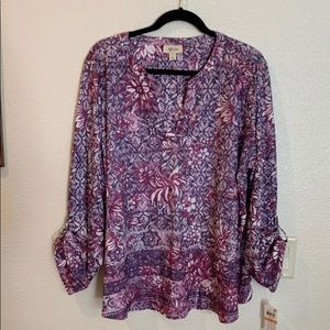 NWT - Style & Co Floral Henley Top